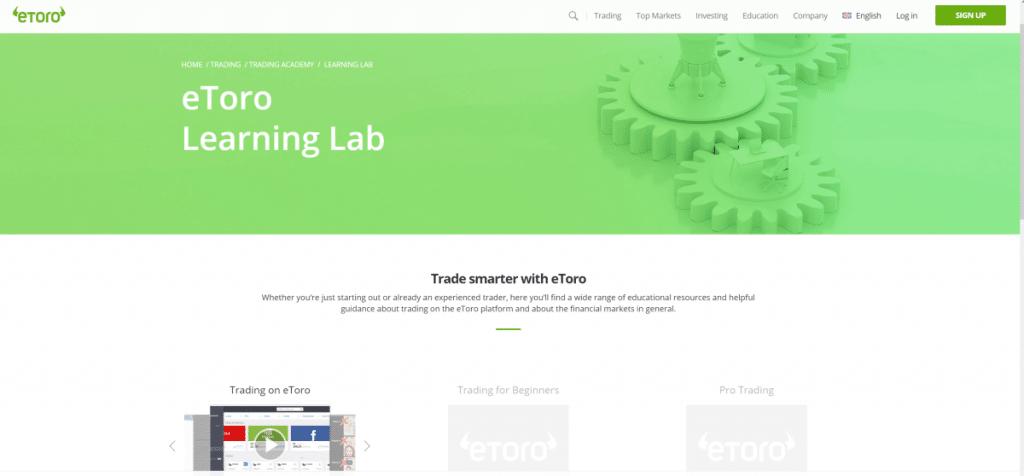 eToro trading academy learning lab
