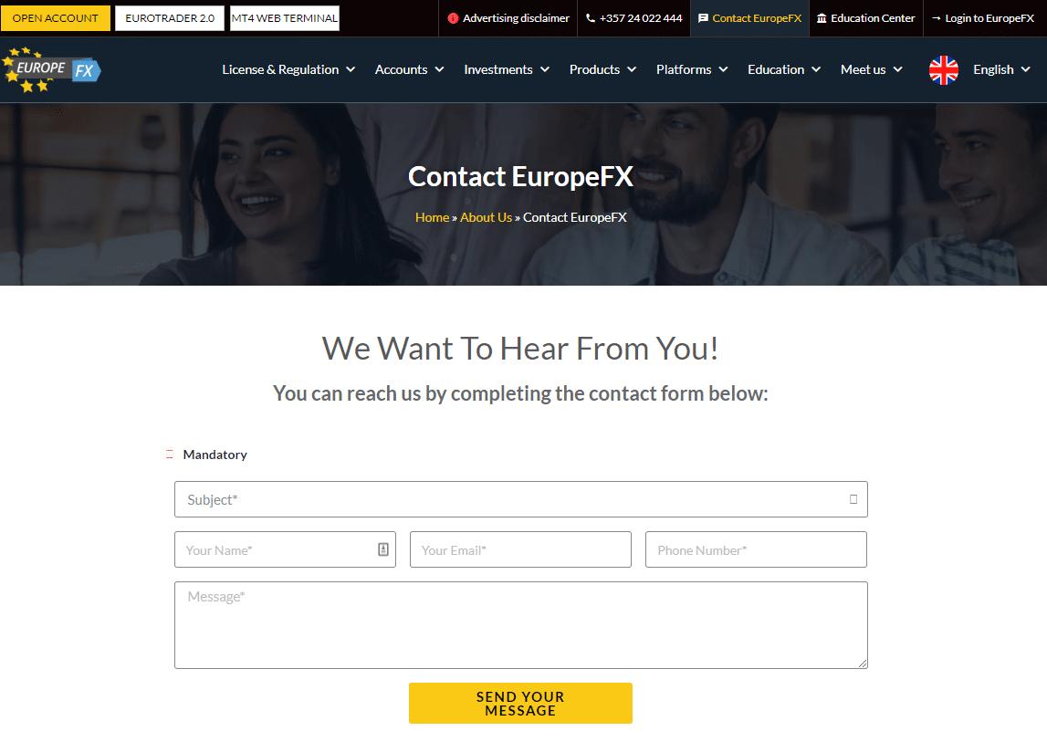 EuropeFX support