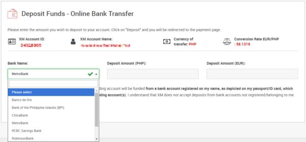 XM Global Trading - Online Bank Transfer